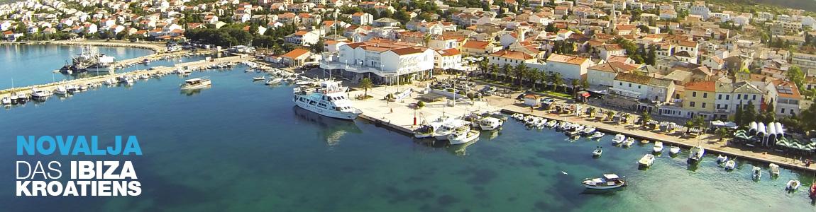 Novalja Luftbild der Hafenstadt