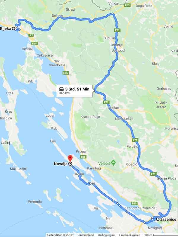 Anreise nach Novalja ohne Fähre